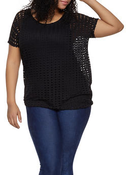 Plus Size Perforated Knit Top - 1912038349132