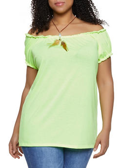 Plus Size Off the Shoulder Feather Necklace Top - 1912038349157