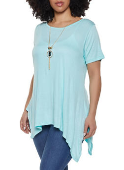 Plus Size Scoop Neck Tee with Necklace - 1912038349160