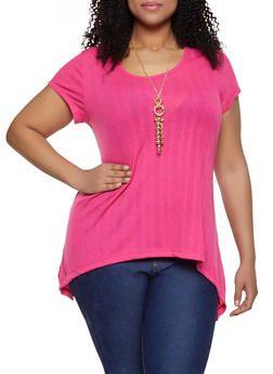 Plus Size Rib Knit Asymmetrical Tee with Necklace - 1912038349167