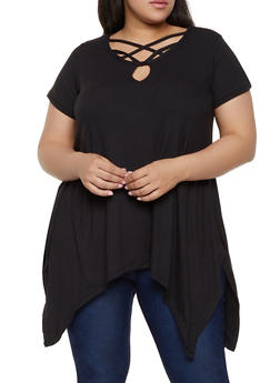 Plus Size Black Asymmetrical Top