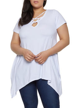 Plus Size Caged Keyhole Top - 1912038349254