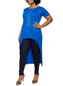 Plus Size High Low Top with Necklace - 1912038349255