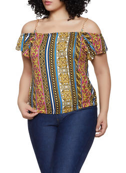 Plus Size Printed Chain Strap Off the Shoulder Top - GOLD - 1912038349305