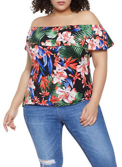 Plus Size Floral Print Off the Shoulder Top - 1912038349315