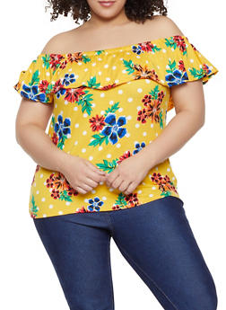 Plus Size Floral Print Tops
