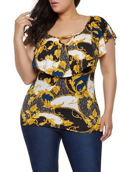 Plus Size Printed Ruffle Overlay Top - 1912038349318