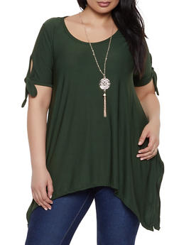 Plus Size Tie Sleeve Asymmetrical Top with Necklace - 1912038349371