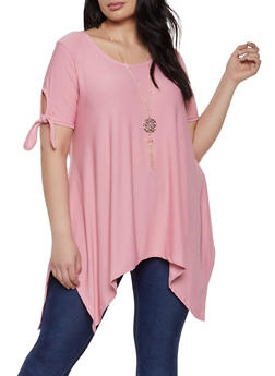 2b829bb2165 Plus Size Tie Sleeve Asymmetrical Top with Necklace - 1912038349371