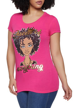 Plus Size Queen of Everything Foiled Graphic Tee - 1912043391196