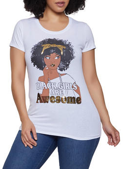 Plus Size Black Girls Are Awesome Graphic Tee - 1912043391199