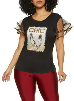 Plus Size Chic Patch Leopard Trim Top - 1912043394175