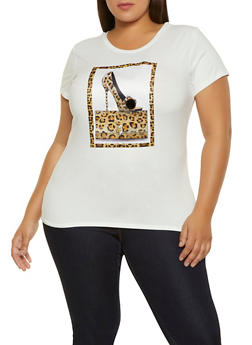 Plus Size Studded Leopard Stiletto Patch Tee - 1912043398692