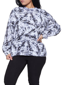 Plus Size Tie Dye Mock Neck Sweatshirt - 1912051060249