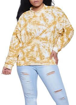 Plus Size Tie Dye Mock Neck Sweatshirt - 1912051060249