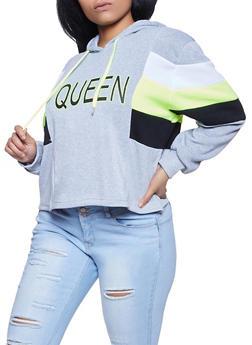 Plus Size Queen Color Block Sweatshirt - 1912051060265