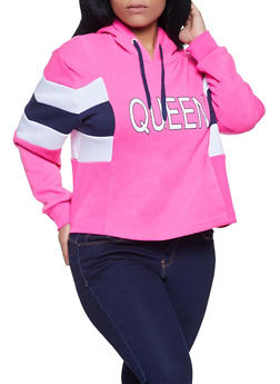 Plus Size Queen Color Block Sweatshirt - 1912051060265