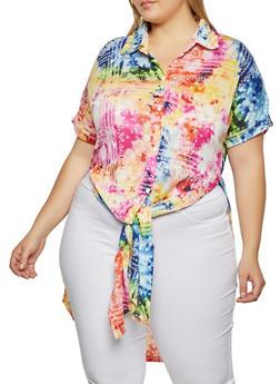 Plus Size Printed High Low Shirt - 1912051060472
