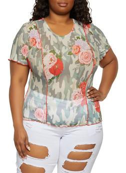 Plus Size Printed Short Sleeve Mesh Top - 1912051062738
