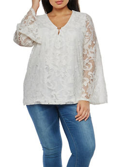 Plus Size Bell Sleeve Lace Top - 1912051065641