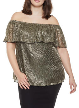 Plus Size Shimmer Knit Ruffled Off the Shoulder Top - 1912051065928