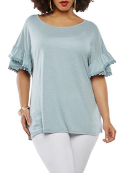 Plus Size Tiered Sleeve Top with Crochet Trim - 1912051066490