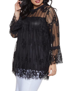 Plus Size Bell Sleeve Lace Top - 1912051066534