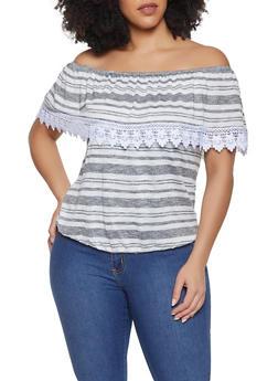Plus Size Striped Crochet Trim Off the Shoulder Top - 1912051066708
