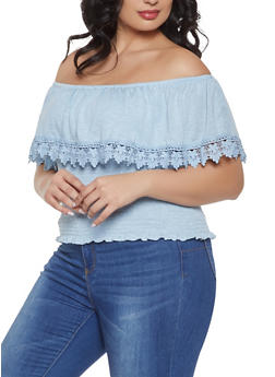 Plus Size Smocked Crochet Trim Off the Shoulder Top - 1912051066902