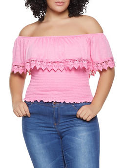 Plus Size Crochet Trim Off the Shoulder Top - 1912051066902