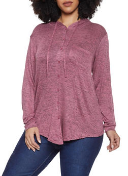 Plus Size Hooded Button Front Top - 1912051066957