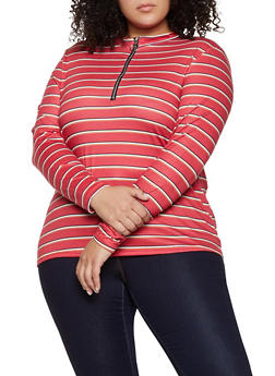 Plus Size Striped Zip Neck Top - 1912051067240