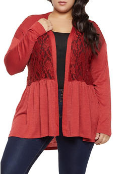Plus Size Ribbed Lace Cardigan - 1912051067306