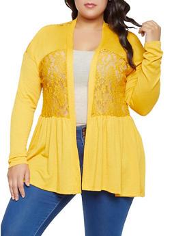 Plus Size Ribbed Lace Cardigan - 1912051067306