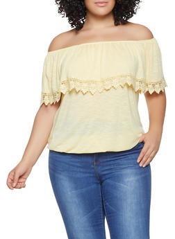 Plus Size Off the Shoulder Peasant Top - 1912051068790