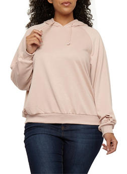Plus Size Slashed Hooded Sweatshirt - 1912051069723