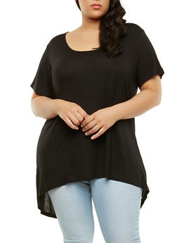Plus Size Split Back High Low Tunic Top - 1912054260021