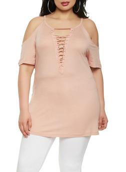Plus Size Lace Up Cold Shoulder Top - 1912054260472