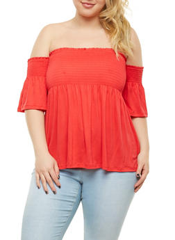 Plus Size Smocked Off the Shoulder Top - 1912054260473
