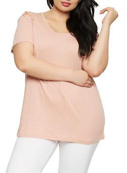 Plus Size Lace Up Shoulder Tee - 1912054260501
