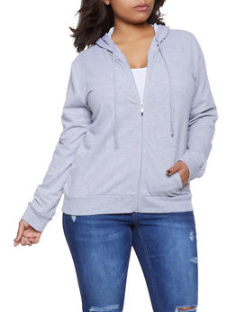 Plus Size Zip Up Hooded Sweatshirt - 1912054260675