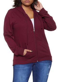 Plus Size Zip Up Hooded Sweatshirt - 1912054260675