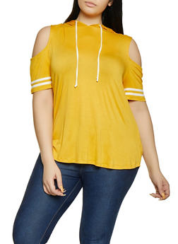 Plus Size Hooded Cold Shoulder Top - 1912054260915