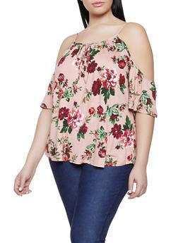 Plus Size Floral Cold Shoulder Top - 1912054260942