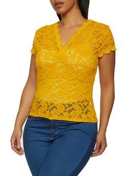 Plus Size Scalloped V Neck Lace Top - 1912054261838