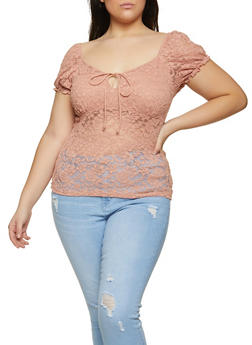 Plus Size Tie Front Lace Top - 1912054262091