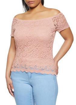 Plus Size Scalloped Hem Off the Shoulder Lace Top - 1912054262157