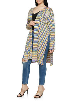 Plus Size Multi Color Striped Duster - 1912054262443