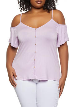 Plus Size Button Detail Cold Shoulder Top - 1912054263283