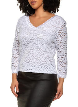 Plus Size Lace V Neck Top - 1912054265852